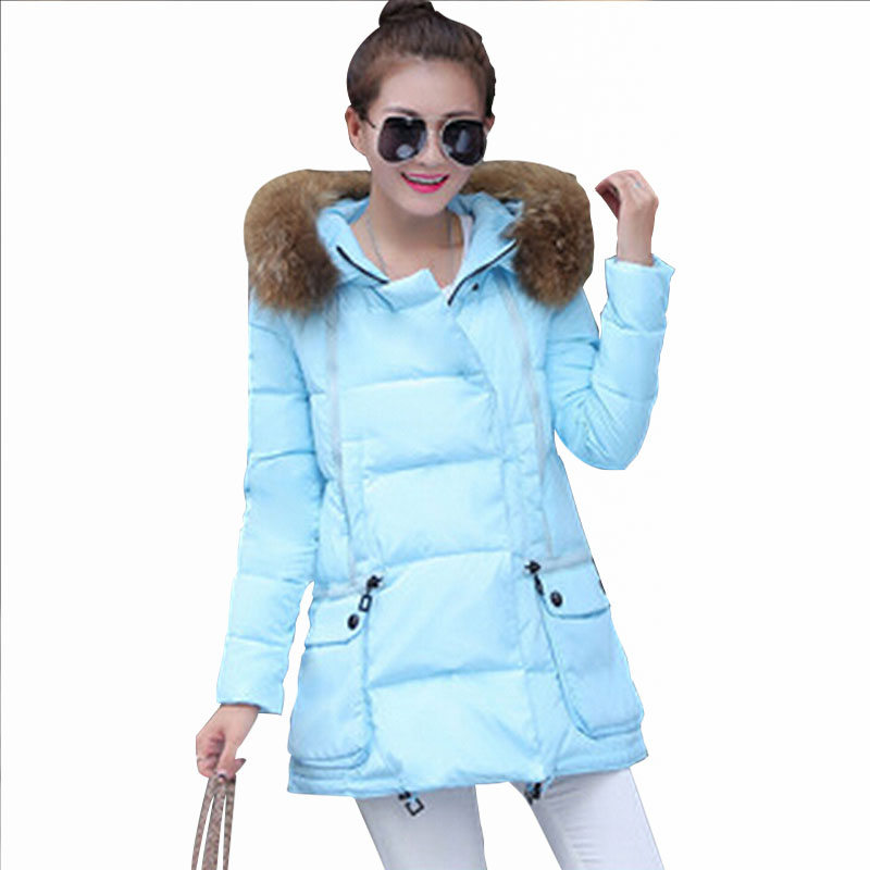 2015 Womens Down And Parka Thicken Winter Coats Light Blue Women ...