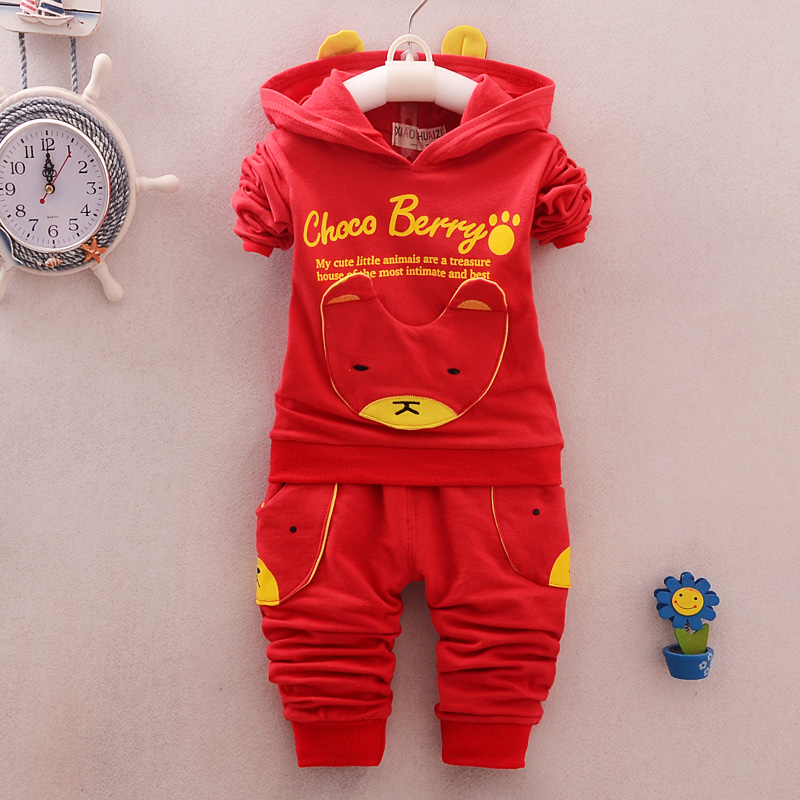 BibiCola spring autumn baby boys clothes sets infant boys cartoon bear hooded coat+pants 2pcs sets boys fashion suit