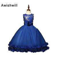 Vestido דה Daminha בנות פרח שמלות קטנות לחתונות מפלגת כדור שמלת אורגנזה רויאל בלו שמלות ערב שמלות נשף ילדים