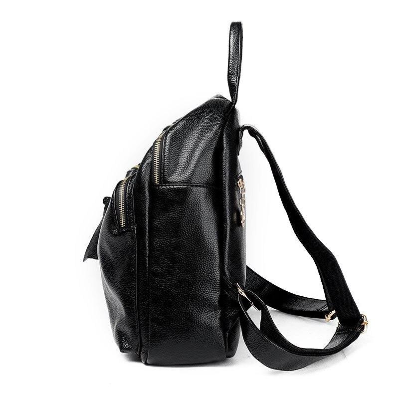 Solid Women Genuine Leather Backpack Brand Bag Designer Fashion Zipper Travel Double Shoulder Bags High Quality Female Mochila