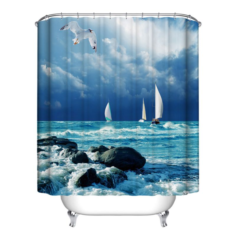 europe ecofriendly waterproof bath curtains blue sky shower curtain bathroom product cortina ducha