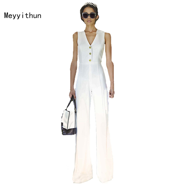 Free Shipping 2017 Women's Jumpsuit V-neck Sleeveless Jumpsuits for women  170214XB02