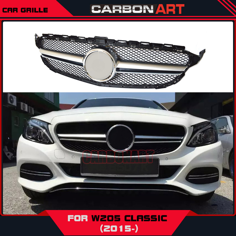 Front Grill Grille For Mercedes Benz New C Class W205 C63 ABS Material Silver Auto Mesh Center 2015 2016 Classic Edition pp class front car mesh grill sport style fit for benz w203 c 2000 2006