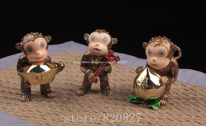 Fengshui 3 Monkeys Trinket Box Gift Home Decor Good Luck Monkey Metal Display Monkey Bejeweled Collectible Jewery Box Set of 3 creative dump monkey falling toy tumbling monkeys party