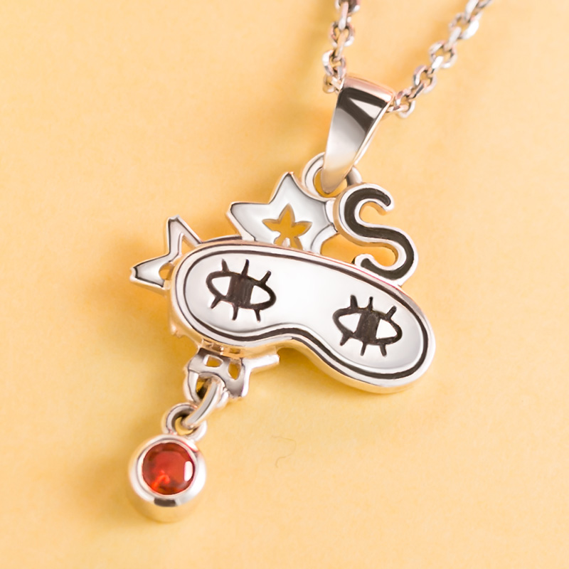 [Gintama] Anime Necklace 925 sterling silver Okita Sougo Eye Mask Comics Character Pendant Action figure cosplay Gift 1
