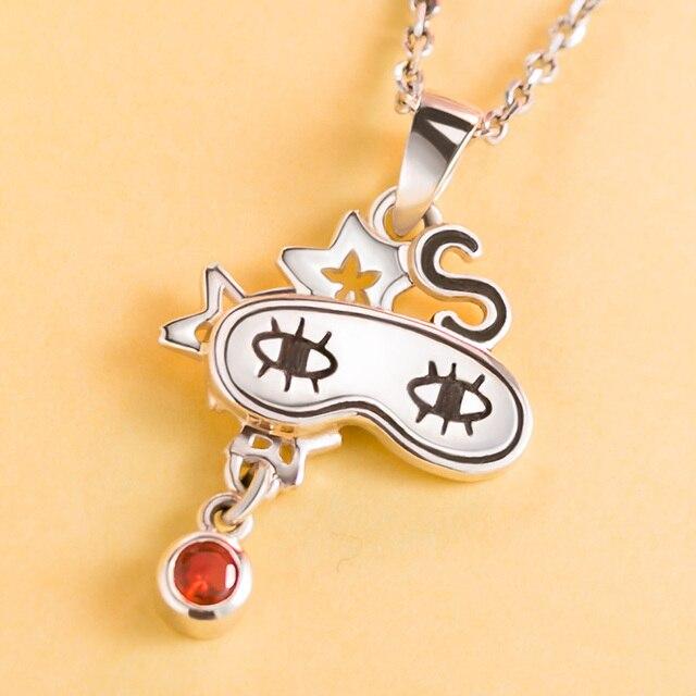 [Gintama] Anime Necklace 925 sterling silver Okita Sougo Eye Mask Comics Character Pendant Action figure cosplay Gift 1
