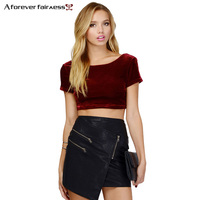 Women Crop Tops Behind Deep O Neck Backless Short Sleeve Short Wild Fashion Velvet Tank Tops