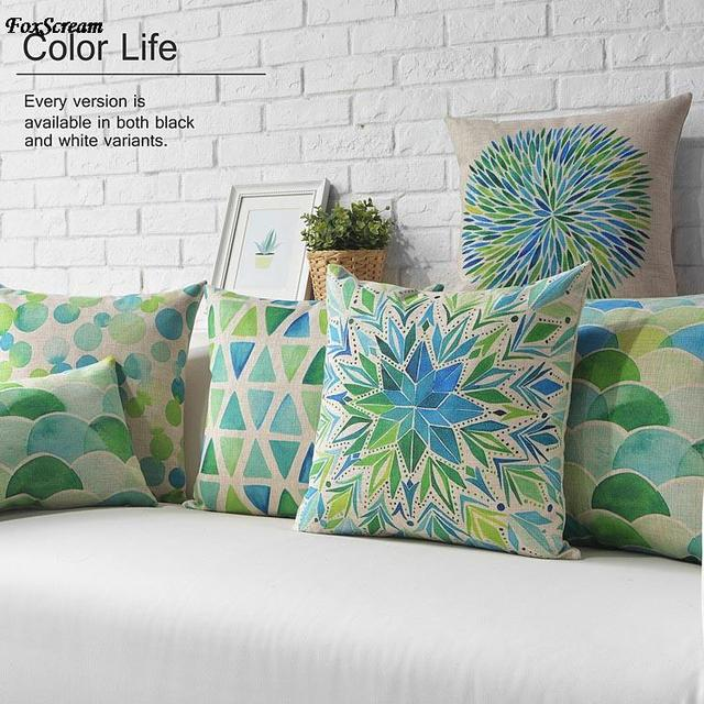 Green Geometric Decorative Pillows Cases Watercolor Cushion Cover Home  Decor Geometric Throw Pillows Linen Cushions For