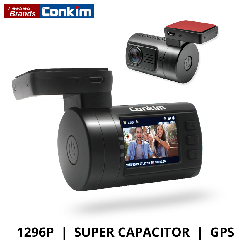 Conkim Ambarella A7 Dash Cam Mini 0806s DVR para automóvil con GPS 1296P 1080P Full HD Auto Grabador de video Super Capacitor Car Camera GPS