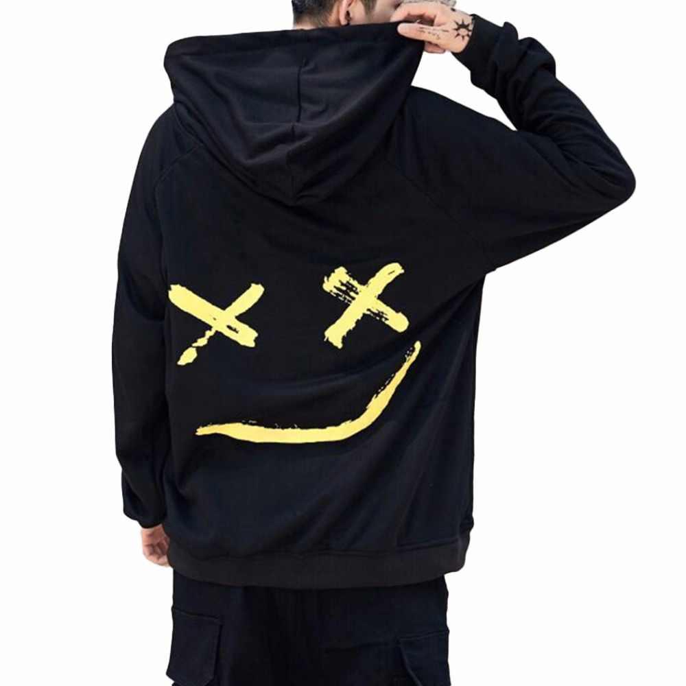 原宿男性パーカー 2018 ファッション笑顔プリントフード付きトレーナーヒップホップストリート男性ルーズパーカープルオーバー服 Moletom