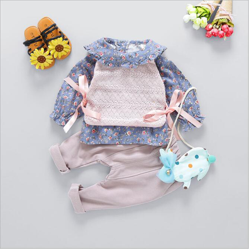 Children's Clothing Girl Spring Set Infantil Girls Kids Floral Blouse+Long Pants+Lovely Vest Outfit Baby Girl 3PCS Clothes Set flower sleeveless vest t shirt tops vest shorts pants outfit girl clothes set 2pcs baby children girls kids clothing bow knot