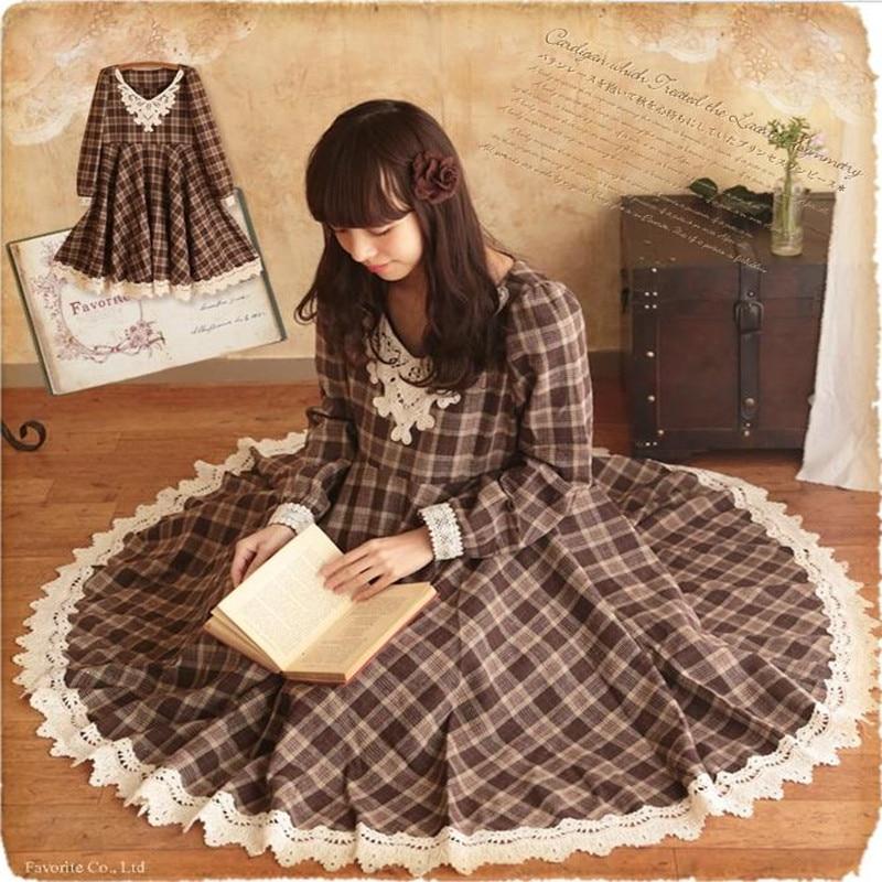 Vintage Brown Plaid Wool Blending Mori Girl Maxi Dress For Women Loose Casual Clothing Faldas Autumn Winter
