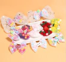 New Pom Pom hair Bow Hair Clip Baby Girl Kids Birthday Gifts Bowknot cute Princess Hairpin Children Hair Accessories Headwear