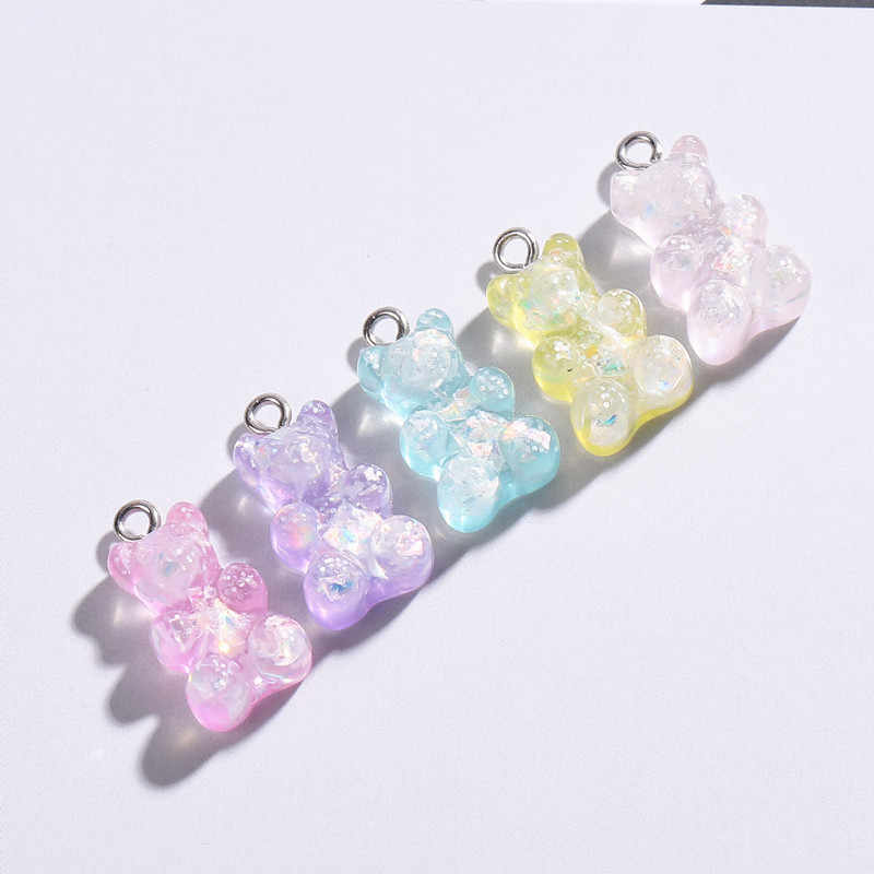20pcs 16*10mm cute gummy bear charms flat back resin charms necklace pendant earring charms for DIY decoration