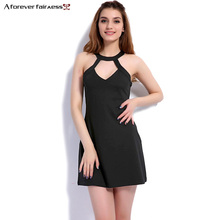 New Arrival 2017 Spring Women Summer Fashion NightClub Sexy Mini dress Halter Neck Hollow Slim Backless Dress NC-1131
