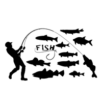 decals rear trunk emblem 16.7*9.5cm Fisherman Fishing Fish Car Stickers Emblem Decals Auto Accessories Car Body Rear Trunk Window Decoration (1)