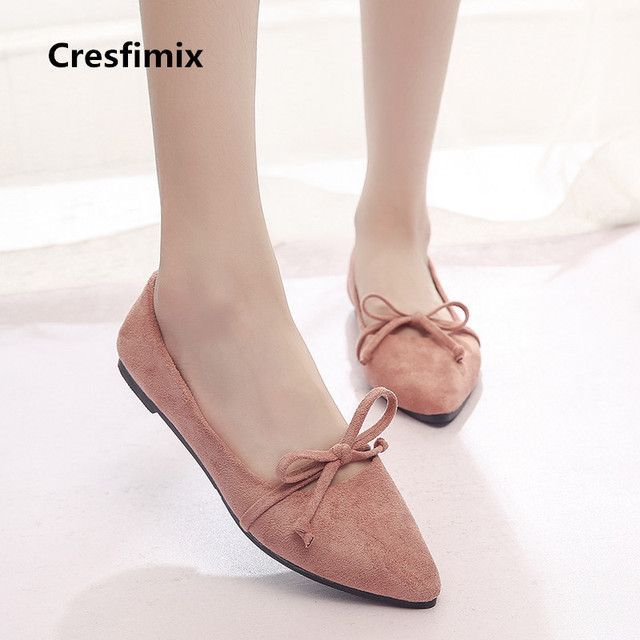 Cresfimix zapatos de mujer women soft comfortable pink slip on flat shoes lady casual pointed toe shoes female cool shoes c2080