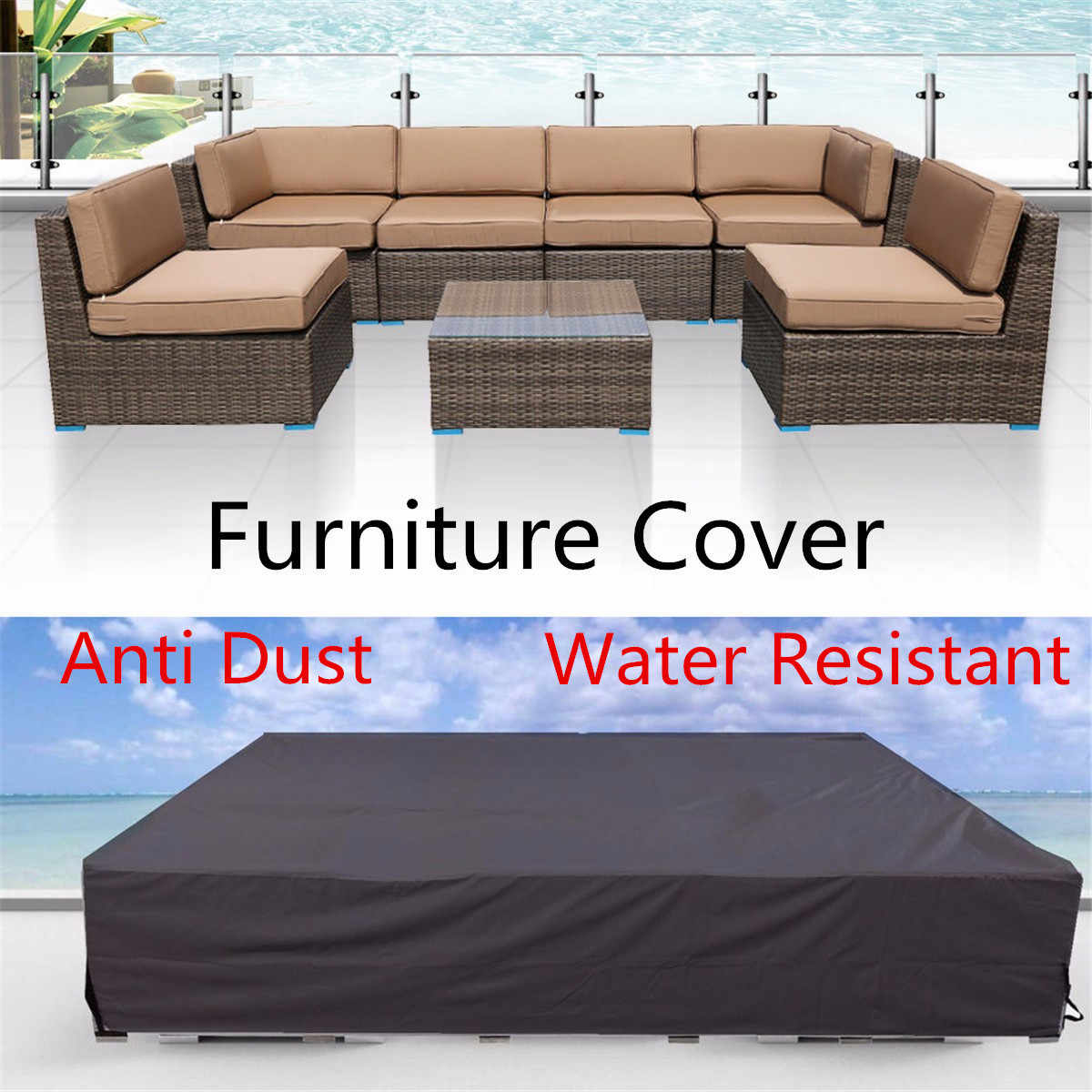 Waterproof 210T Furniture Cover For Garden Rattan Table Cube Chair Sofa All-Purpose Dust Proof Outdoor Patio Protective Case