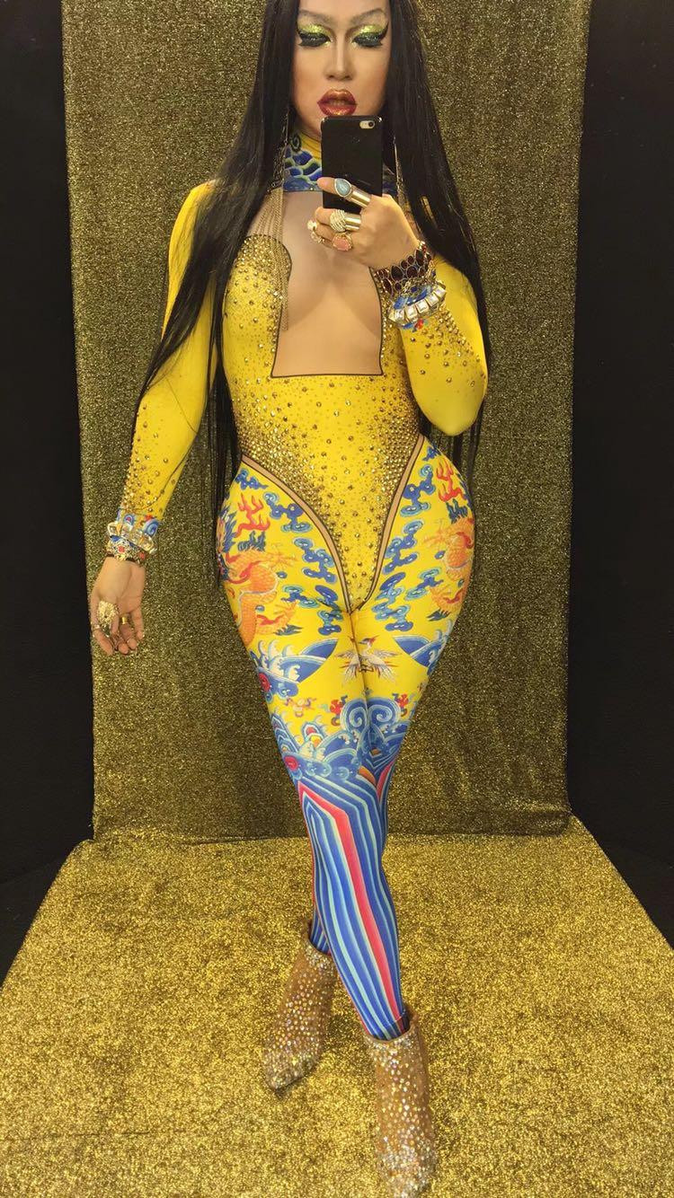 Sexy Discothèque Parti Jaune Costumes Du Danse Justaucorps Chanteur Salopette Or Bar Performance Vêtements Stretch De Cristaux Slim Combinaisons eW2Y9EDIH