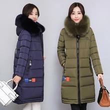 2017 Fashion Winter Slim Hooded Fur Collar Temperament Women Parka Coat Thickened Tide Medium-long Warm Female Jacket