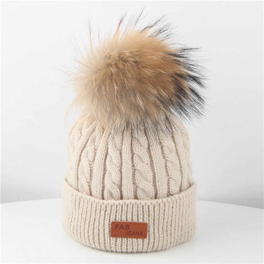 Yürümeye başlayan Çocuk Kız ve Erkek Bebek Bebek Kış Tığ Örgü Şapka Beanie Hairball Kap Için 2-8 Yıl Sep #2
