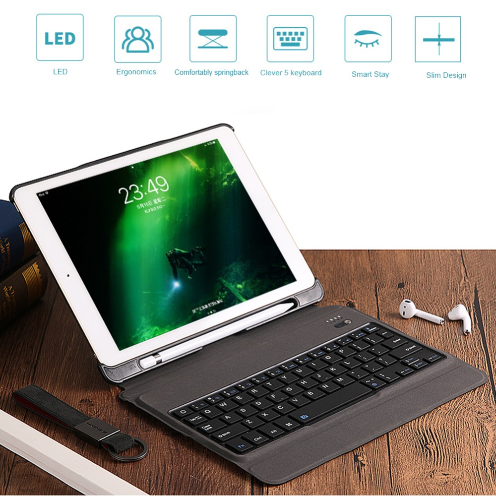 Wireless Bluetooth Pad Keyboard Slim Tablets Ergonomics Keypads with Backlit Tablet Protection Cover for iPad Air 1/2/Pro 9.7
