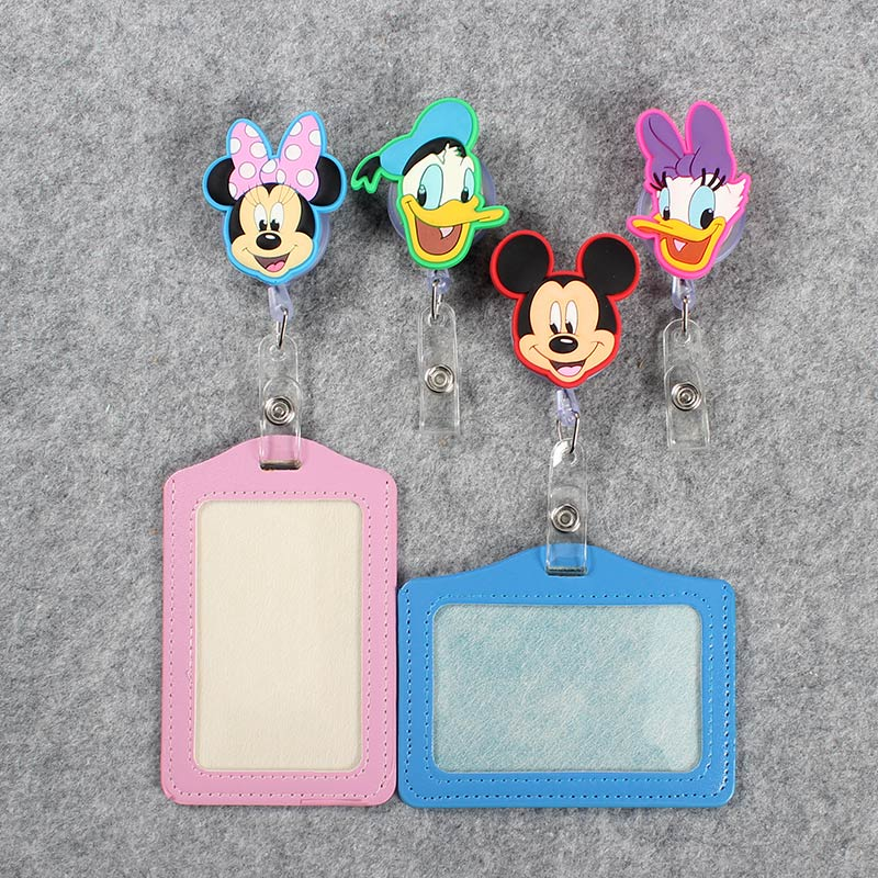 Cartoon Mouse Badge Scroll Nurse Reel Cute Character Scalable Cute Duck Student Nurse Exhibition ID Business PU Card Holder