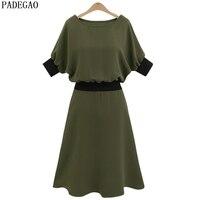PADEGAO army green ruffles una linea vestito casuale o collo patchwork plus size rosa estate ufficio vestito elegante festa informale abiti
