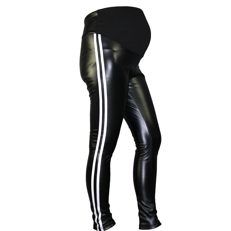 New Winter Pregnant Women Adjustable Cotton PU Leather Leggings Maternity Pants Comfortable Warm Fitness Clothes RQ105