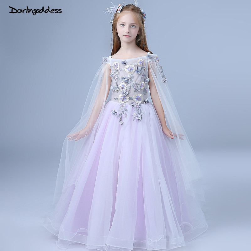 2018 Floor Length   Flower     Girl     Dresses   For Weddings Kids First Communion   Dresses   For   Girls   Children Pageant   Dress   Prom Gown