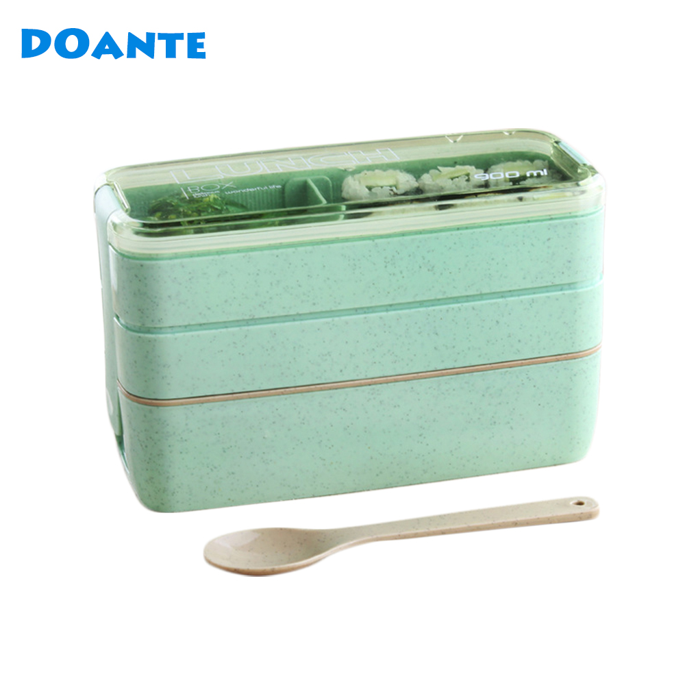 DOANTE Brand 3 Layers Lunch Boxs Food Storage Container for Kids Microwave Bento Box Dinnerware Set Lunchbox(China (Mainland))