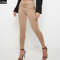 Cultiseed Women European Skinny Suede Long Pant Trousers Ladies Belt Decoration Tight Long Pants Female Fashion Pencil Pants