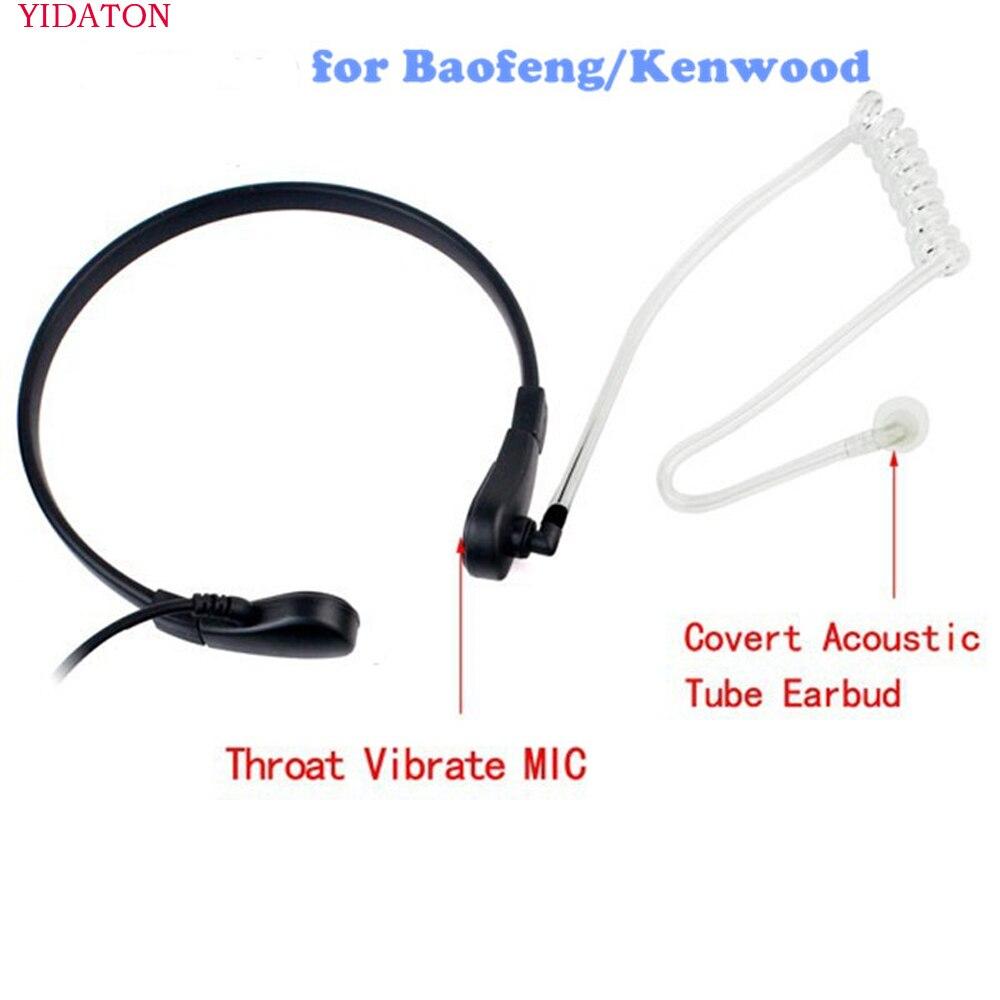 YIDATON For Baofeng Uv5r Headset Throat MIC Covert Acoustic Tube Earpiece PTT For Kenwood Quansheng TYT 888S Radio Earphone