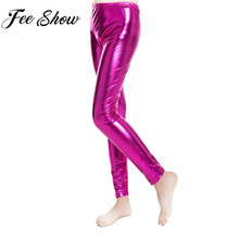 7056d82b525d4 FEESHOW Fashion Boys Girls Pants Shiny Metallic Skinny Elastic Pencil Pant  Leggings for Kids Performances Dance