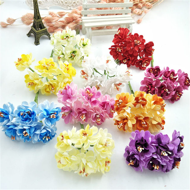 6 PCS craft materials wholesale small plum flower bouquets of ...