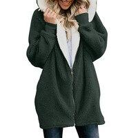 Women's Jackets Winter Coat Women Cardigans Ladies Warm Jumper Fleece Faux Fur Coat Hoodie Outwear manteau Femme Plus size 5XL 3