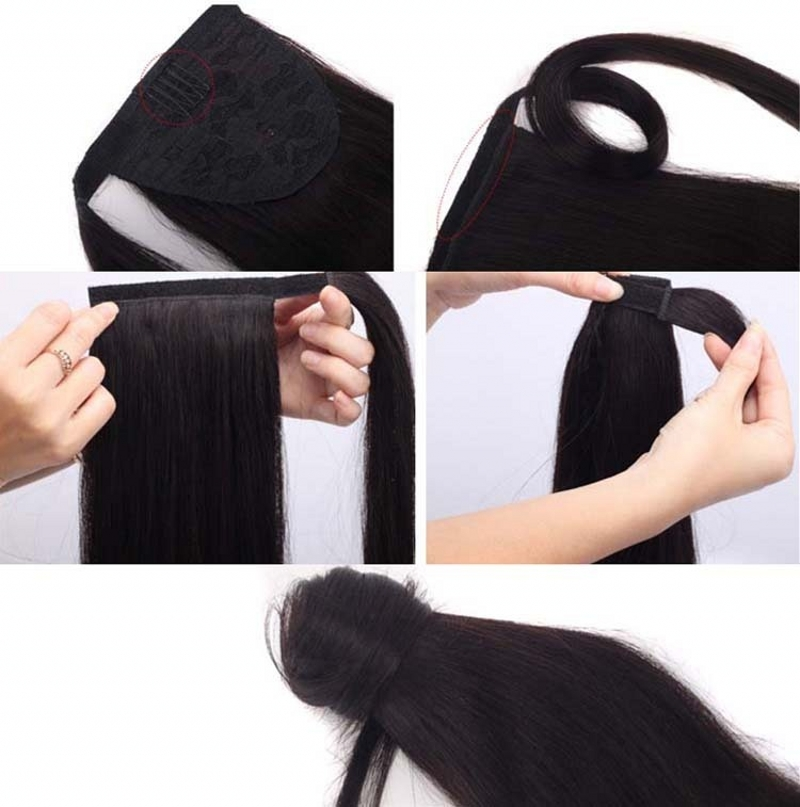 Wholesale Kinky Straight Ponytail Natural Hair Human Hair Ponytail
