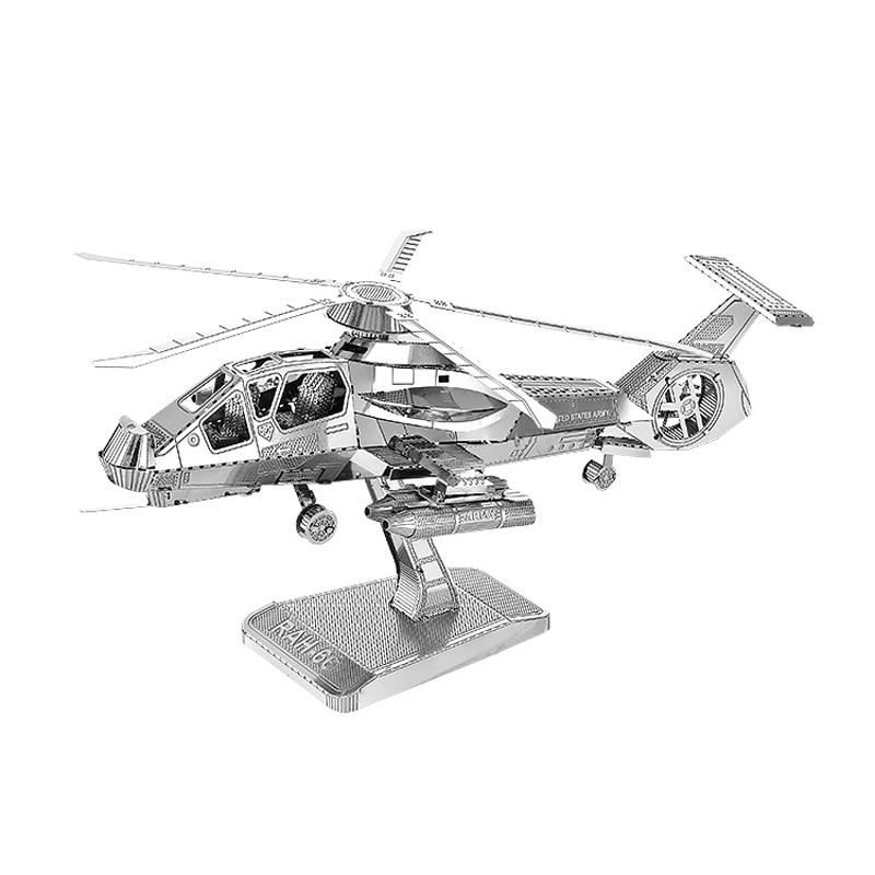 HK Nan yuanes 3D metal puzzle rah-66 sigilo helicópteros DIY laser ...
