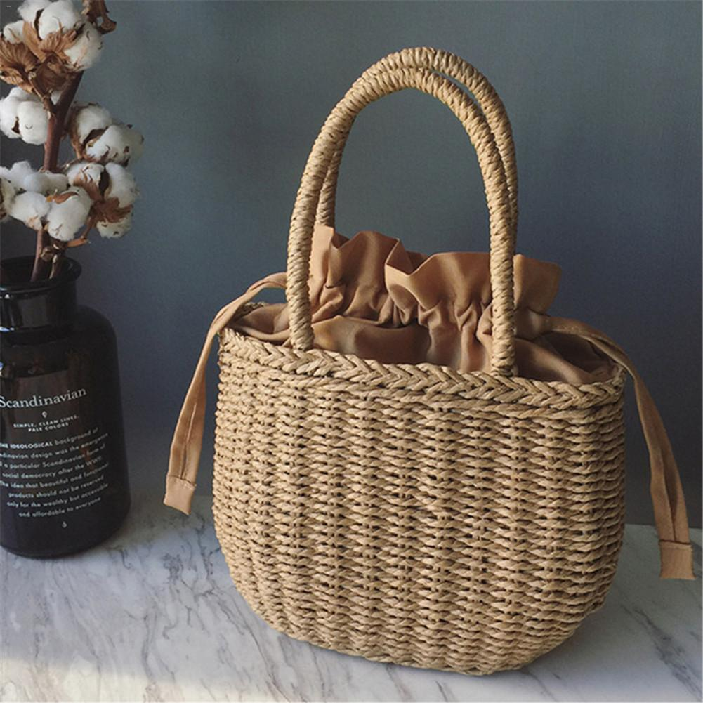 Handmade Rattan Woven Round Handbag Vintage Retro Straw Rope Knitted Messenger Storage Basket Bag Lady Fresh Paper Summer Bag handbag