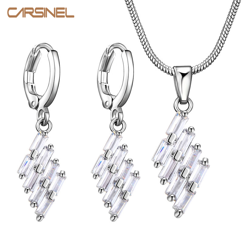 CARSINEL Ungu Set Perhiasan untuk Wanita Trendy warna Silver Cubic Zircon Earrings Kalung Set Perhiasan Fashionable Wanita Set