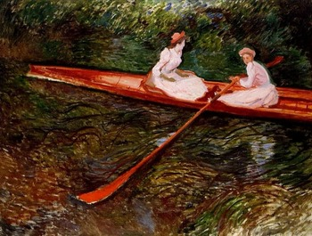 High quality Oil painting Canvas Reproductions The Pink Skiff (1890) By Claude Monet hand painted фото