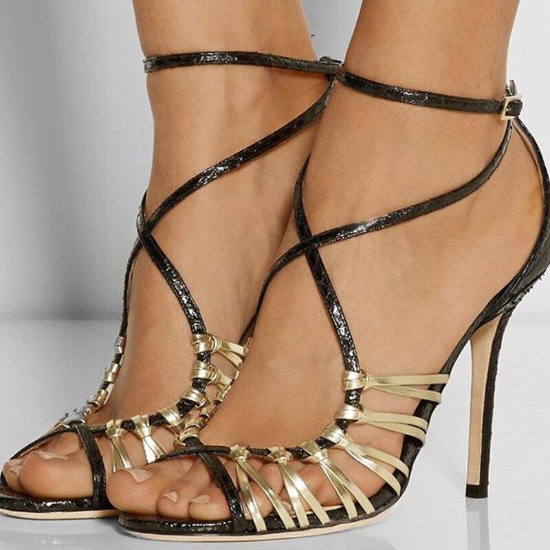 92b9fd9225296 Shofoo أحذية ، أزياء جميلة الشحن مجانا ، النسيج والجلود ، عبر حزام ، 11  سنتيمتر الصنادل عالية الكعب ، السيدات الصنادل.