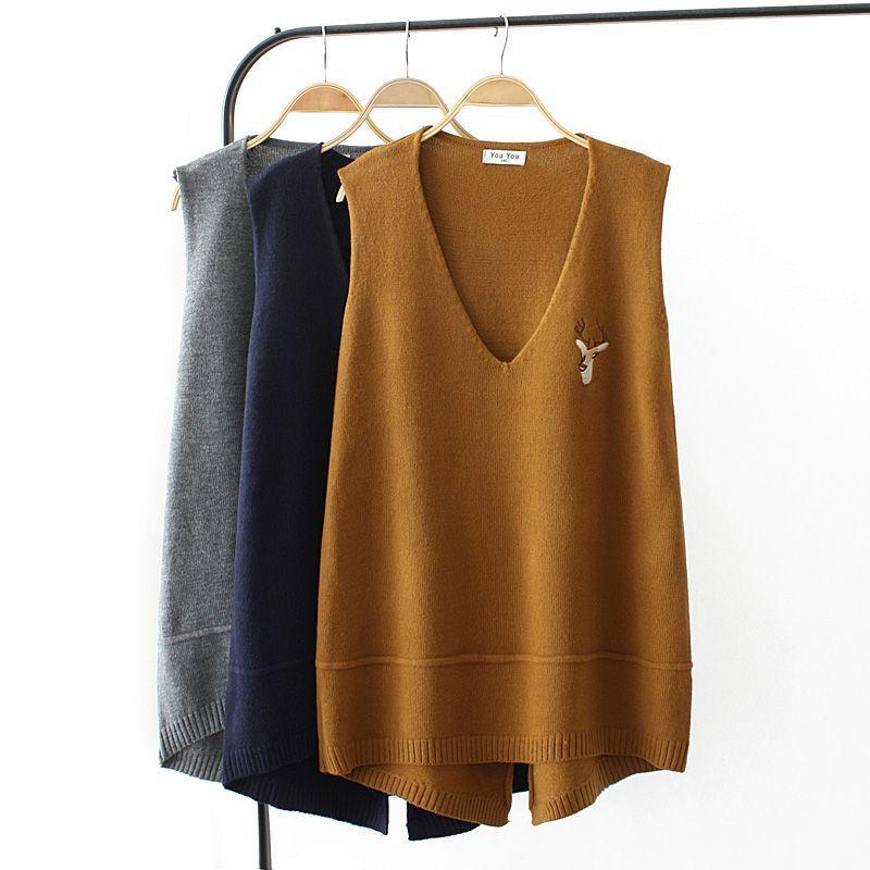 Casual Plus Size V-Neck Autumn Knitted Vest For Women Deer Head Embroidery Sweater Veste Femme Winter Warm Asymmetry Waistcoat