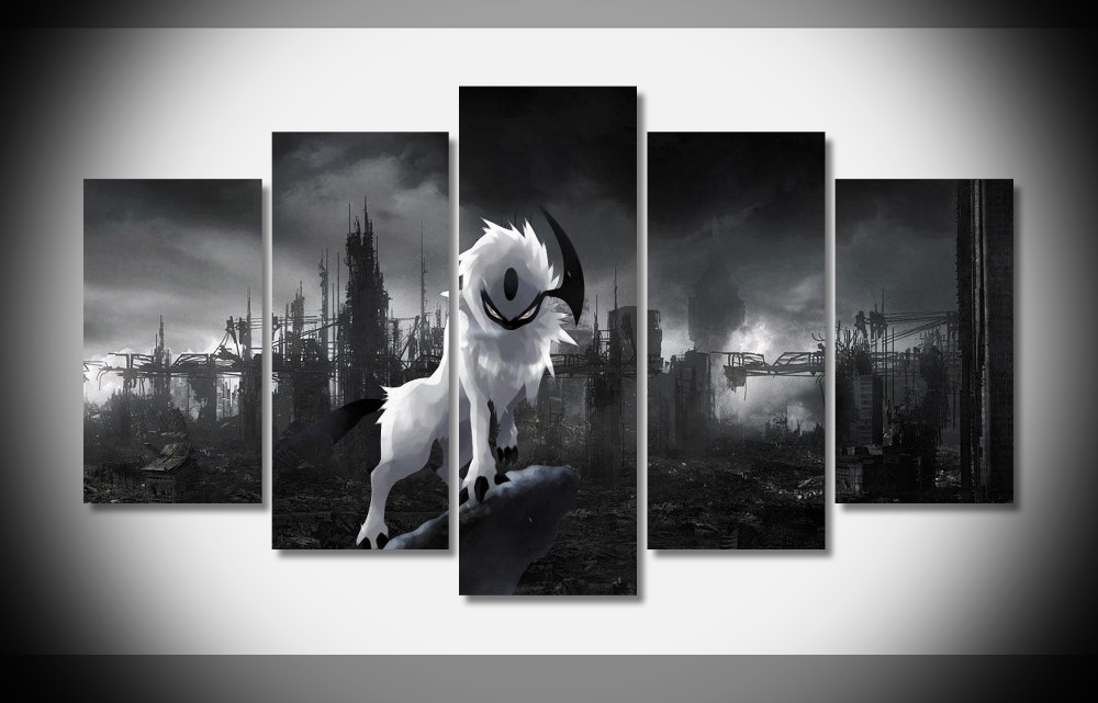 2560 Absol Pokemon Anime Poster Print On Canvas Framed Gallery Wrap Home Deco Art Decor In Painting Calligraphy From