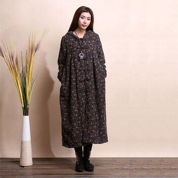LZJN Fashion Winter Jacket Hooded Chinese Style Brushed Women Coat Mori Girl Wool Outerwear Small Flower Long Jacket Bayan Kaban