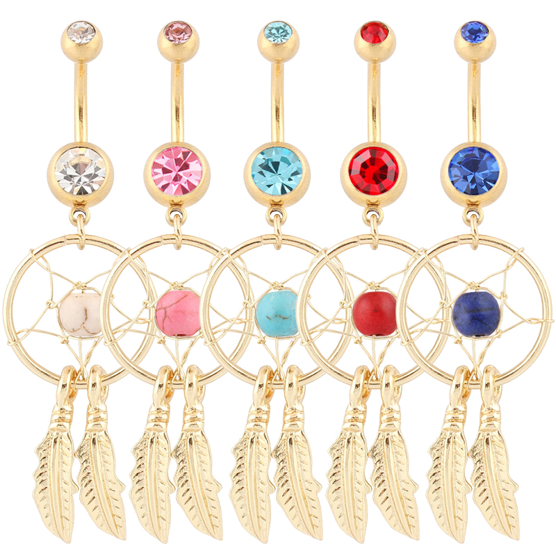 Piercing Dream Catcher Dangle Hot Navel bar Mode Body Piercing Smycken 14G 316L Kirurgiskt stål bar mage ring blandad färg