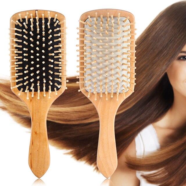 Massage Comb Paddle Brush Antistatic Combanti-static Natural Wooden Massage Hairbrush Comb Scalp Health Care Paddle Brush 3