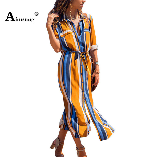 36ce823c24a59 US $10.3 39% OFF|Summer A line Chiffon Beach Long Dress Women Striped Shirt  Dress 2019 Female Casual Long Sleeve Holiday Party Dresses Vestidos-in ...