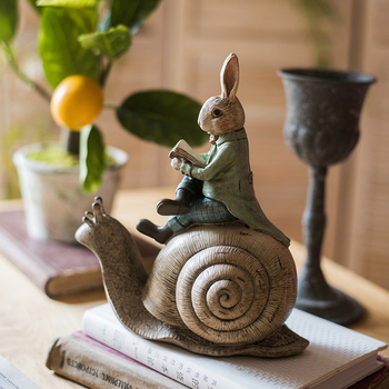 Home Decoration Accessories Gentleman Rabbit Sitting On The Snail'S Back Reading A Book Decor Figurine Living Room Ornament Gift