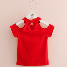 2019 Cotton Summer Girls T Shirt Off Shoulder Red Black O-Neck T-Shirts Kids Top Tee Girl Children Clothes for Toddler Baby 2-7T все цены